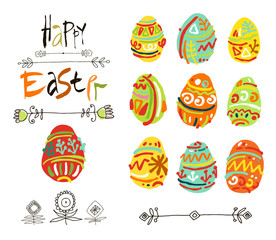 Happy Easter greeting card or display vector poster. Acrylic lettering brush.