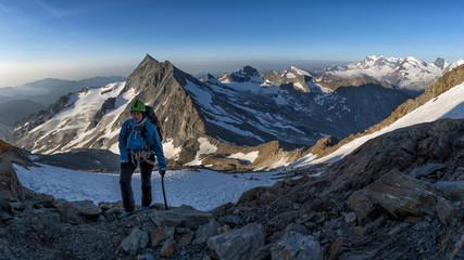 Switzerland, Wallis, Saas-Grund, Pennine Alps, Weissmeis, female mountaineer