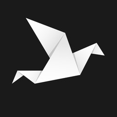 Origami bird vector illustration. Template for your logo design. Background polygon style. Paper bird