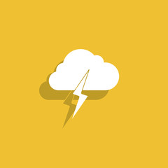 Lightning bolt weather flat line icon infographic illustration template for web or brochure