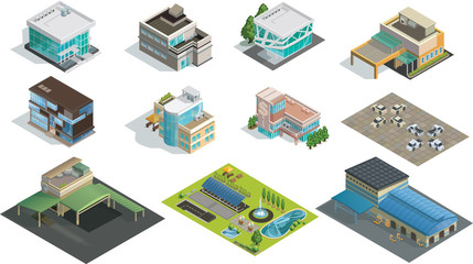 Vector isometric buildings, factory and garden