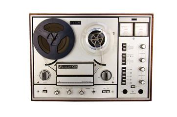 Retro isolated  soviet tape recorder white background. Old portable tube tape-recorder. Tape recorder Vintage. Old tape-recorder. Analog Stereo Open Reel Tape Deck Recorder Player