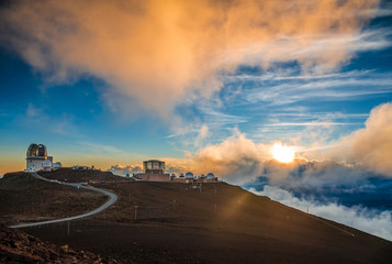 Haleakala crater at sunset, at Haleakala National Park, Maui, Ha