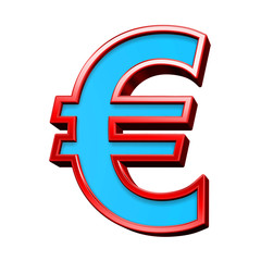 Euro sign from blue glass with red frame alphabet set, isolated on white. Computer generated 3D photo rendering.
