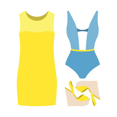 Set of trendy women's clothes. Outfit of woman swimsuit, dress and accessories. Women's wardrobe. Vector illustration
