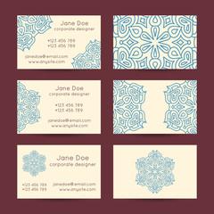 Vector set of vintage business card template designs.