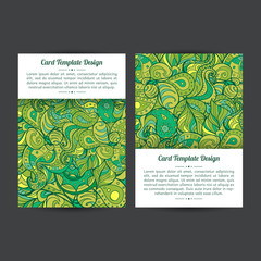 Vector set of green summer boho paisley card template designs, perfect for brochure covers, leaflets, flyers, cards and invitations. Eco doodle design.