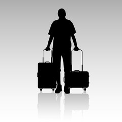 man with travel bag silhouette illustration silhouette