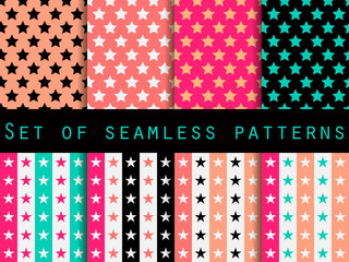 Stars. Set seamless patterns. Blue and pink color. The pattern for wallpaper, bed linen, tiles, fabrics, backgrounds. Vector illustration.