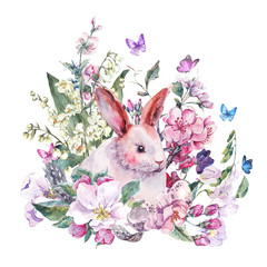 Watercolor spring greeting card white bunny