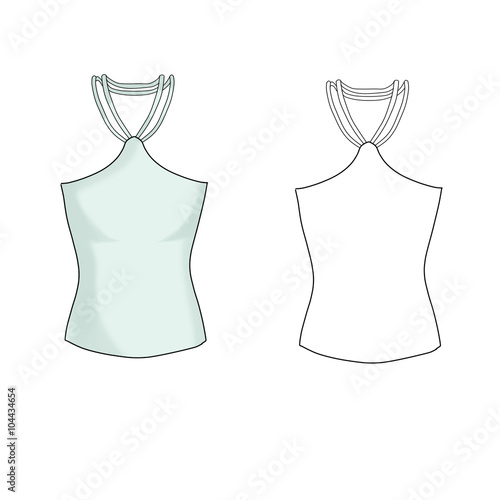 Fashion Illustration Flat Technical Sketch Template Tank Top