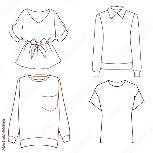 Set of four different tops - sweaters, t shirt, blouse - Flat ...