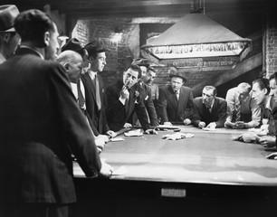 Mobsters meeting around pool table  - fototapety na wymiar