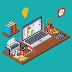 Creative process, web design graphic, designer workplace vector illustration