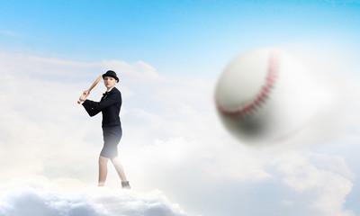 Baseball girl training