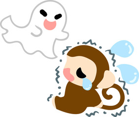 A pretty monkey is afraid of a ghost
