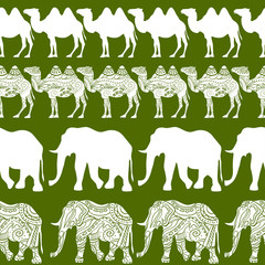 camels and elephants pattern.