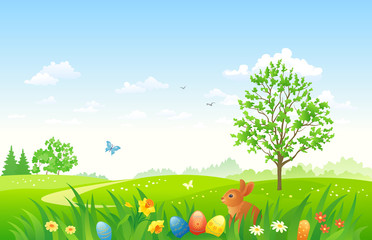 Easter landscape with a bunny