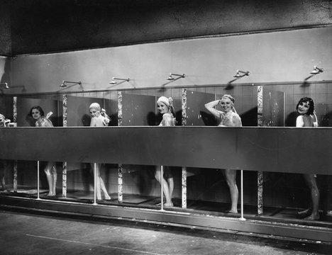 Row of women in public showers