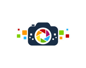 Camera Pixels Logo Design Template