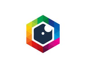 Camera Hexa Photography Logo Design Template