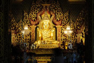 Mahamuni Buddha image at Mahamuni temple in Mrauk u,Myanmar.