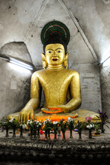 Image of buddha in ancient temple at Mrauk U,Myanmar
