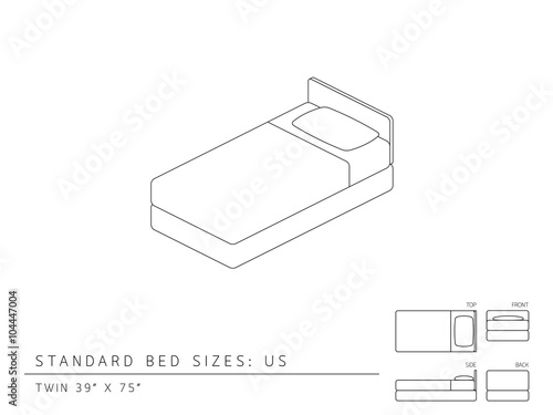 Standard Bed Sizes Of Us United States America Twin Size 39 X 75