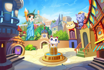 Creative Illustration and Innovative Art: Welcome to Cat Ville, A Small City with their own Statue of Liberty. Realistic Fantastic Cartoon Style Artwork Scene, Wallpaper, Story Background, Card Design