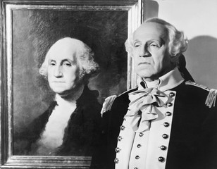 Portrait of George Washington with an impersonator next to the image