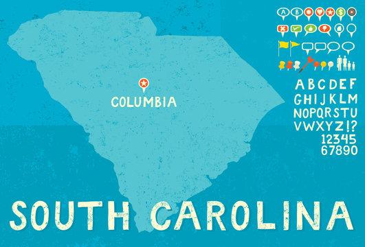 Map of South Carolina with icons