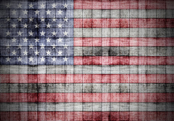 America flag painted on old square blocks wood texture