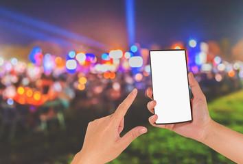blur image of night festival on street .