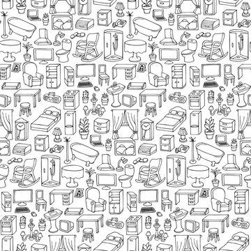 Home Furniture Seamless Pattern