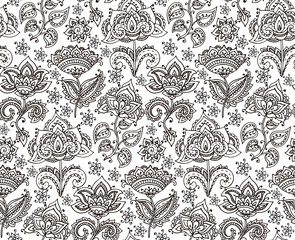 Vector seamless pattern with hand drawn henna floral elements