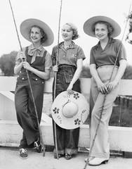 Three Women going fishing with huge hats