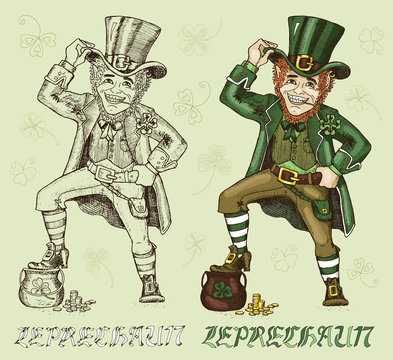 Hand drawn vector Leprechauns and clover