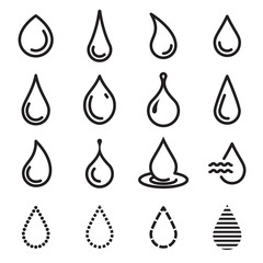 Drop icons. Symbols of aqua and fluid. Simple line drop icons isolated on a white background. Vector illustration
