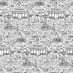 Supermarket hand drawn seamless pattern