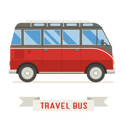 Cartoon Travel Bus Vector Icon