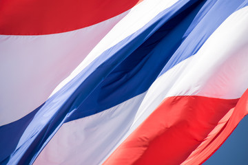 Close up flying the Thailand flag abstract background