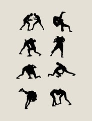 Wrestling Sport Silhouettes, art vector design