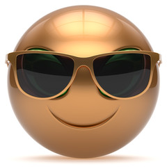 Smiley alien face cartoon cute sunglasses head emoticon gold