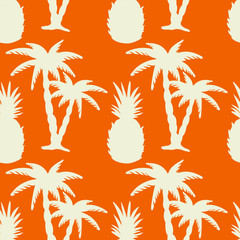 Seamless pattern with palm trees and pineapples