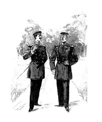 two gentlemen in uniform with walk leisurely chatting and smoking cigars