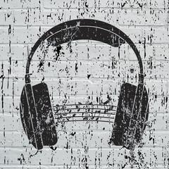Street art, casque audio grunge