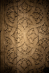 Close-up image of ancient doors with oriental ornaments from Uzb