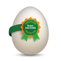 Label mit Ei - Frische Eier aus Bodenhaltung
