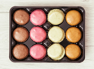 Tasty macarons in the box, sweet food
