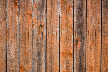 Vintage wood background. Grunge wooden weathered oak or pine textured planks. Brown rustic fence.